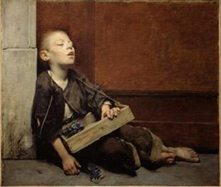Fernand Pelez. El venedor de violetes, 1885.