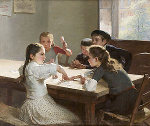 Hugo Salmson, Infants jugant a cartes, Sense data
