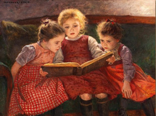 Walter Firle. Tres nenes llegint un conte, 1900.