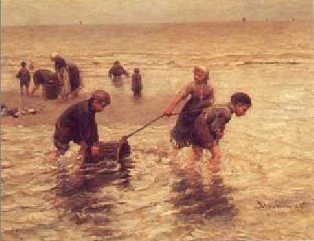 B.J Blommers. Els petits pescadors de gambes, 1890