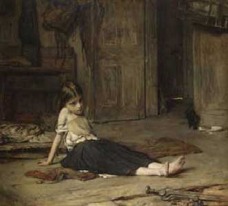 Frank Holl. De cara al foc, 1867