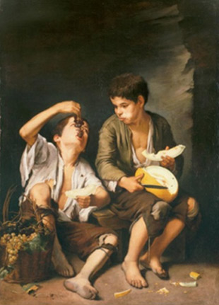 Bartolomé Esteban Murillo. Nens menjant raïm i meló, 1650.