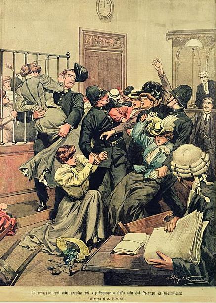 Achille Beltrame. Militants sufragistes arrestades, 1906.