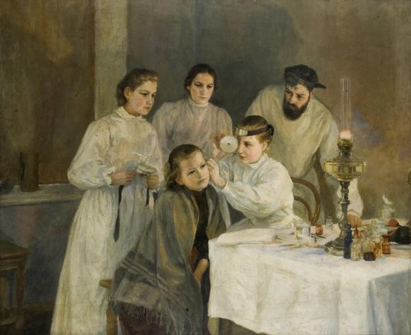 Emily Shanks. Escena en un hospital rus: inspecció d'orelles, 1890.