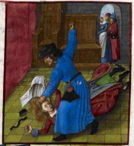Detall de la miniatura d'El Roman de la Rose sobre el marit gelós