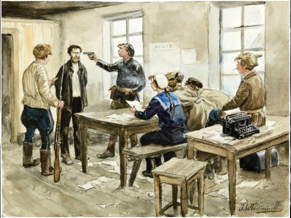 Ivan Vladimirov. Interrogant un sospitós, 1918