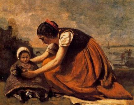 Camile Corot. Mare asseguda prop de la seva filla,1866