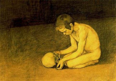 Magnus Enckel. Nen amb calavera, 1893