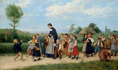 Albert Anker. Passeig de l'escola, 1872