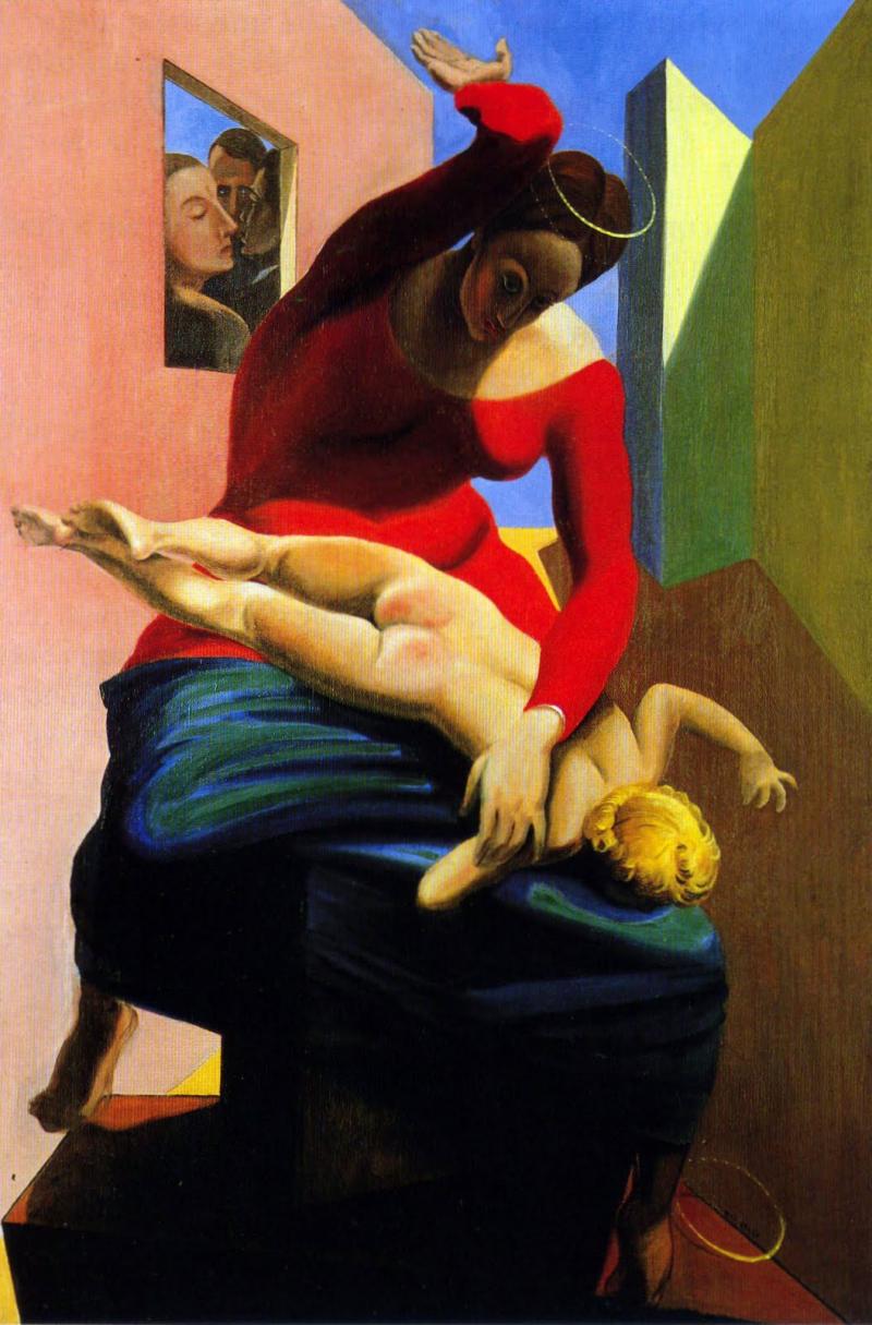 Max Ernst, La verge castigant l'infant davant de tres testimonis (1926)