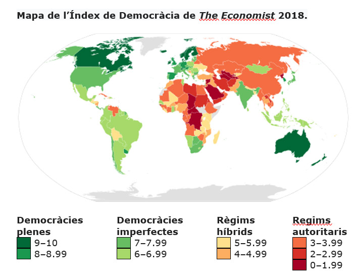 Mapa de l'Índex de Democràcia de The Economist 2018.