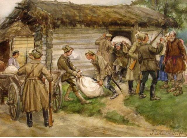 Ivan Vladimirov. Bolchevics requisant gra als camperols, entre 1921 i 1922.