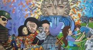 Mural en el Centro de Derechos Humanos Fray Matías de Córdova a la ciudad de Tapachula, Chiapas. (Detall)