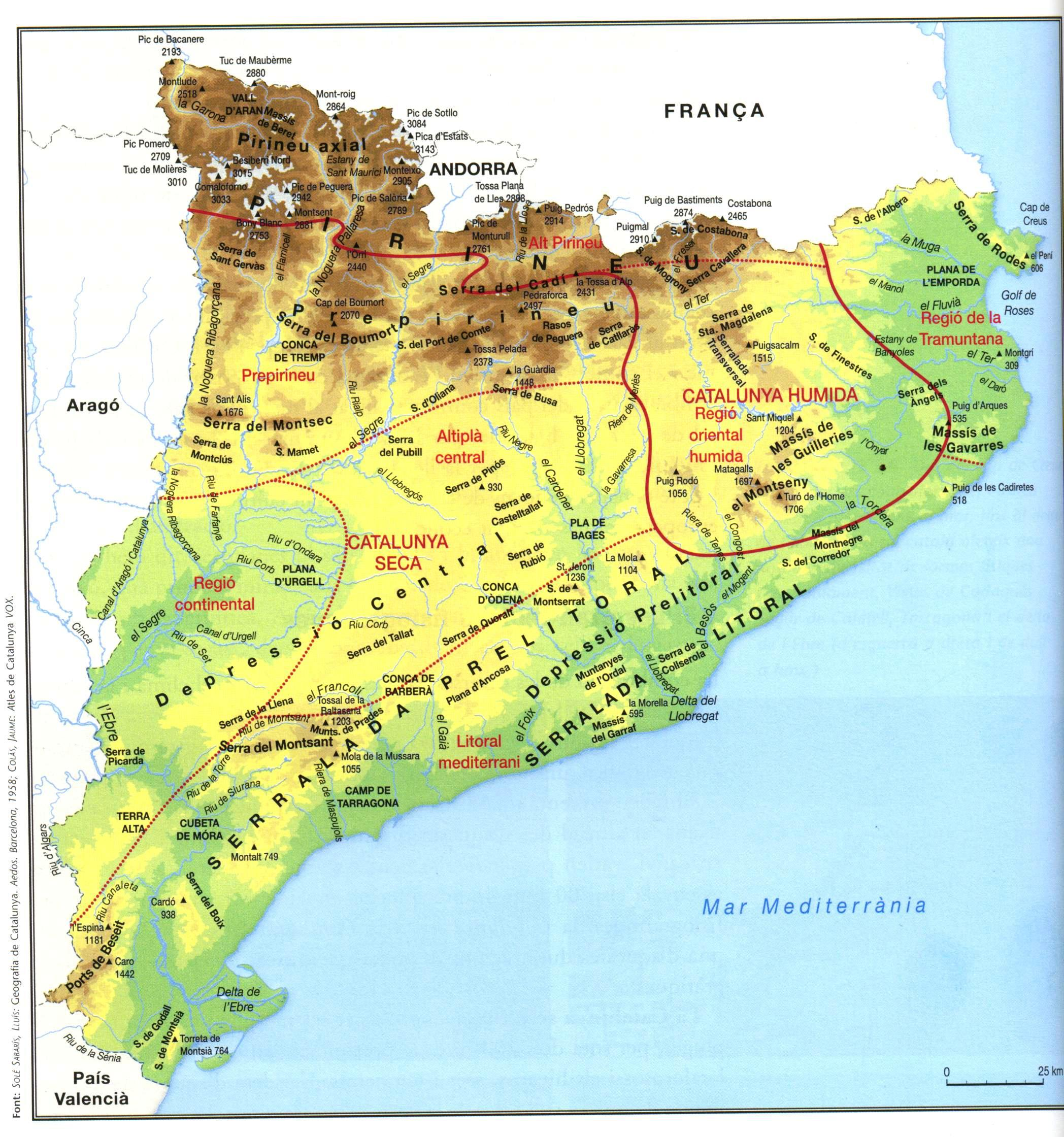 Mapes físics de Catalunya.