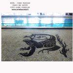 Mosaics del terra de la piscina coberta 50m de l'Stadio del Nuoto.