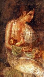 Dona romana alletant al seu fill.