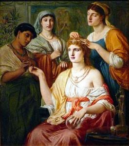 Serventes cuidant de la bellesa d'una senyora romana