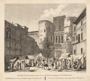 Vista de la Plaça Nova i una de les portes antigues de Barcelona (~ 1820)