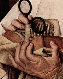 Quevedos en un cuadro de Jan Van Eych ( 1436 )